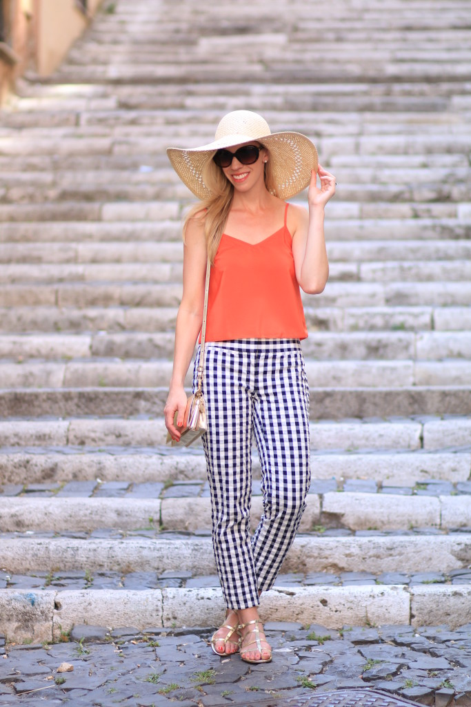 H&M oversized floppy straw hat, orange camisole crop top, LOFT gingham ankle pants, gingham with gold, how to wear gingham pants