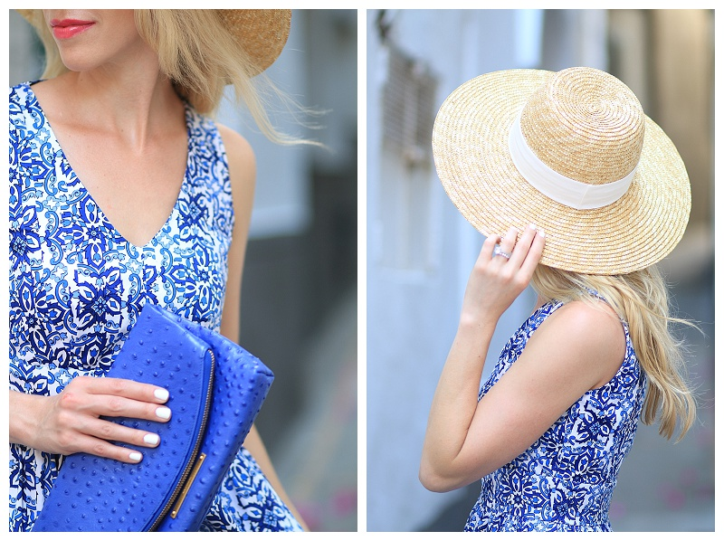 J Crew oversized straw hat, Milly for Kohls blue floral dress, Brahmin cobalt blue Duxbury clutch, Lancome shine lipstick French Soiree