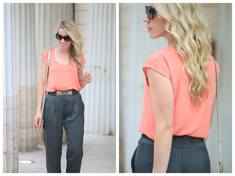 J. Crew coral cap sleeve blouse, high waist tapered ankle pants with belt, Hoss Intropia chiffon pants with elephant belt, how to wear coral and olive green