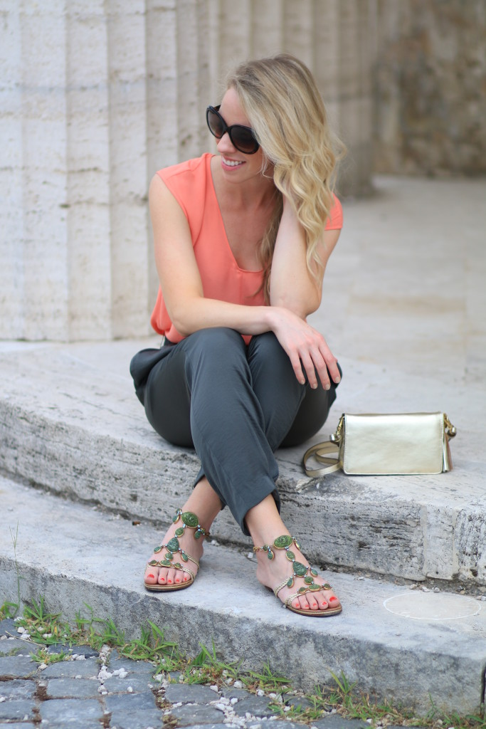J. Crew coral top, Hoss Intropia tapered olive pants, Giuseppe Zanotti jeweld sandals, how to wear coral orange and olive green