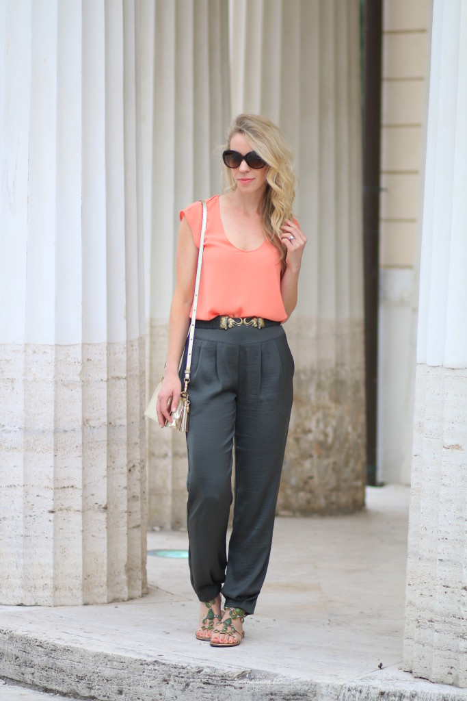 J. Crew coral top, Hoss Intropia tapered olive pants, safari inspired green outfit, Giuseppe Zanotti jeweled sandals, how to wear olive and orange