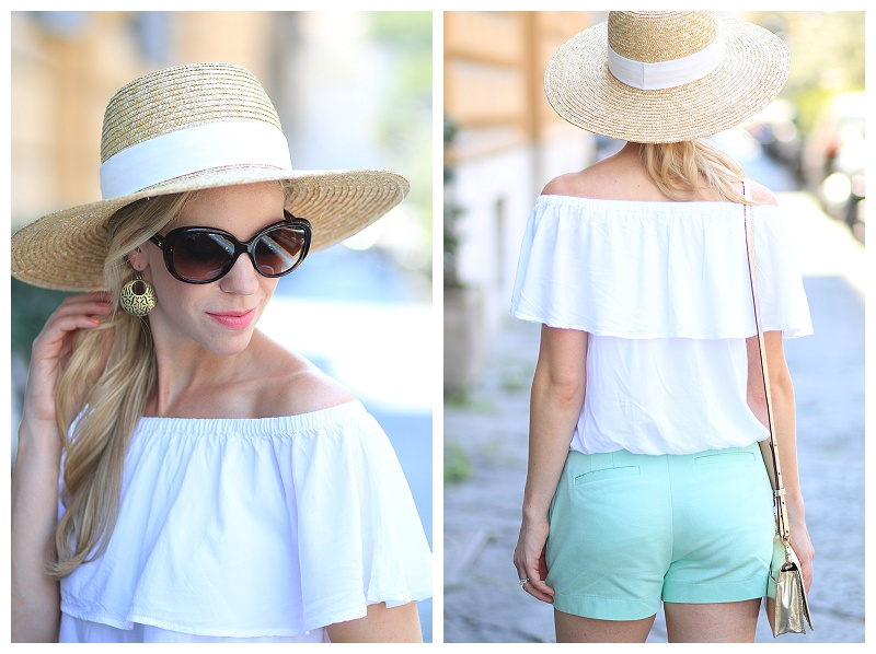 J. Crew wide brimmed straw hat, Express white off the shoulder top, Chanel oversized tortoiseshell sunglasses, Clinique Petal soft matte lipstick