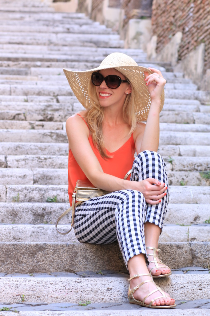 LOFT navy gingham ankle pants, H&M floppy straw hat, gold gladiator sandals, how to wear gingham pants summer outfit