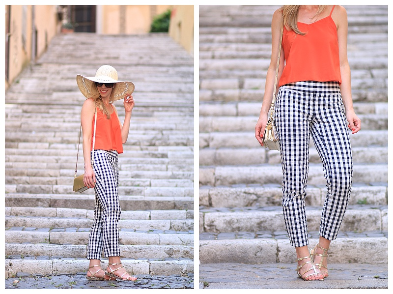 LOFT navy gingham ankle pants, gold gladiator sandals, crop top with ankle pants, how to wear navy blue with orange, gingham pants outfit