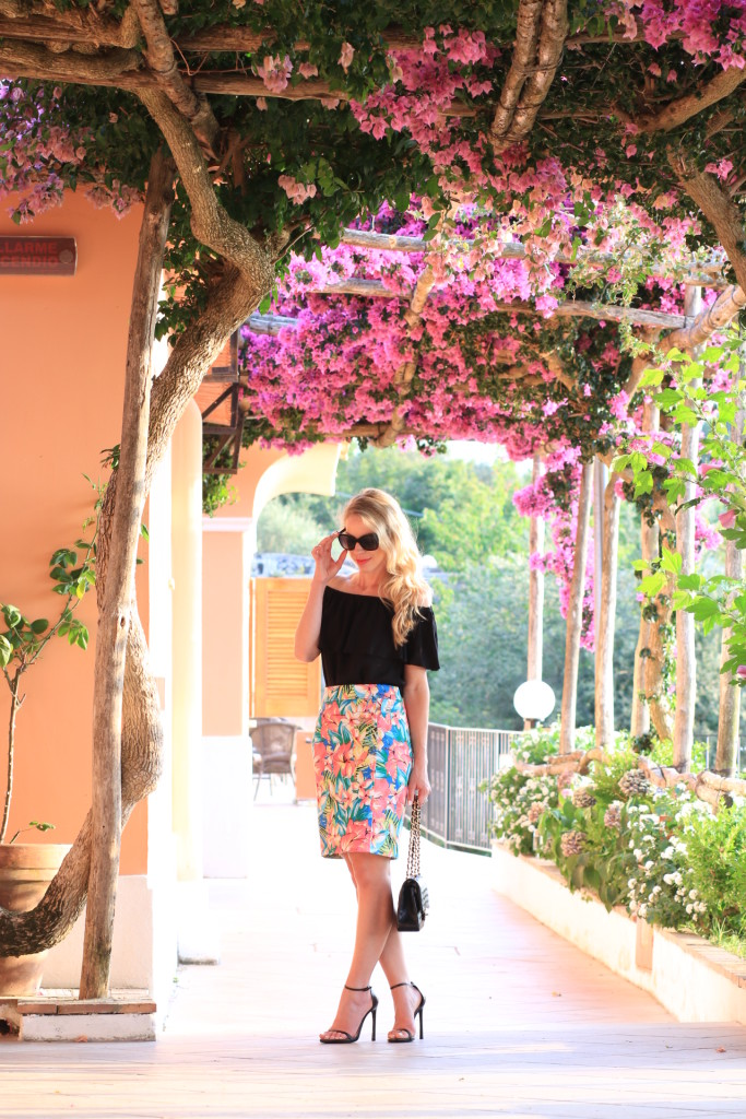 LOFT tropical print skirt, off the shoulder top with pencil skirt outfit, Stuart Weitzman black leather Nudist stiletto, tropical vacation outfit, what to wear to Capri Italy