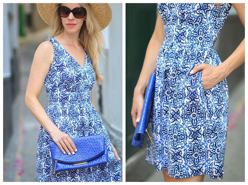 Milly for Kohls Capri-inspired dress, Dolce Gabbana blue Majolica inspired dress, cobalt clutch, what to pack for island vacation