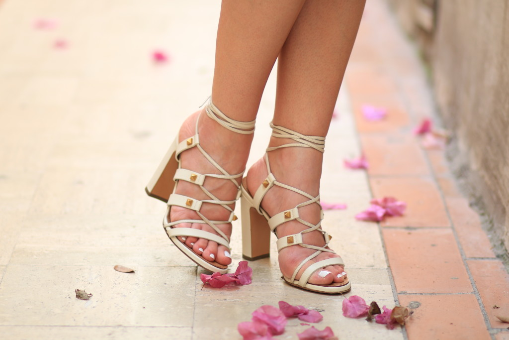 Valentino ivory lace-up Rockstud gladiator sandals, what to pack for Capri Italy island vacation