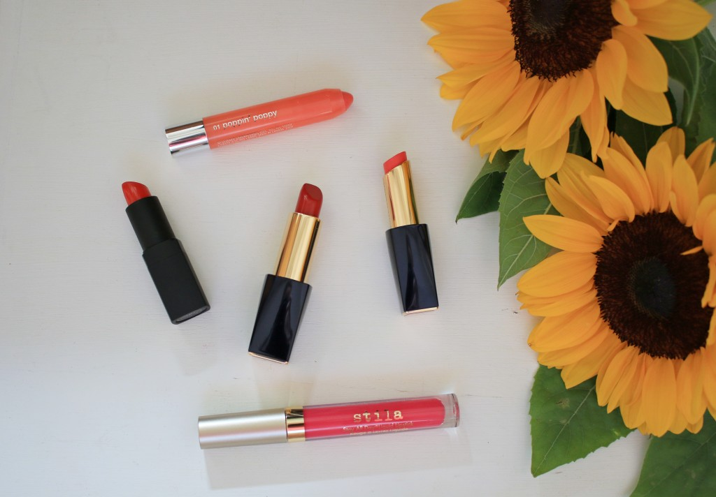 best summer lipcolors, best red lipstick for summer, best coral lipstick for summer, NARS heat wave, Stila Amalfi, Estee Lauder surreal sun, Estee Lauder Envious