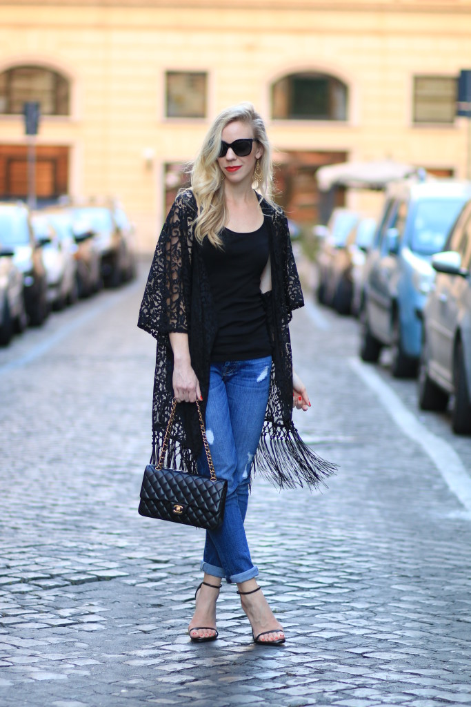 black lace fringed cardigan, 7 for all mankind josefina boyfriend jeans, Chanel classic black flap bag, how to wear stiletto sandals with boyfriend jeans, how to wear fringed top