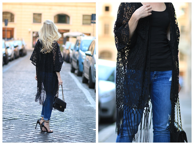lace fringed cardigan, boyfriend jeans with stiletto sandals, Stuart Weitzman Nudist black heels, how to wear fringe with distressed denim