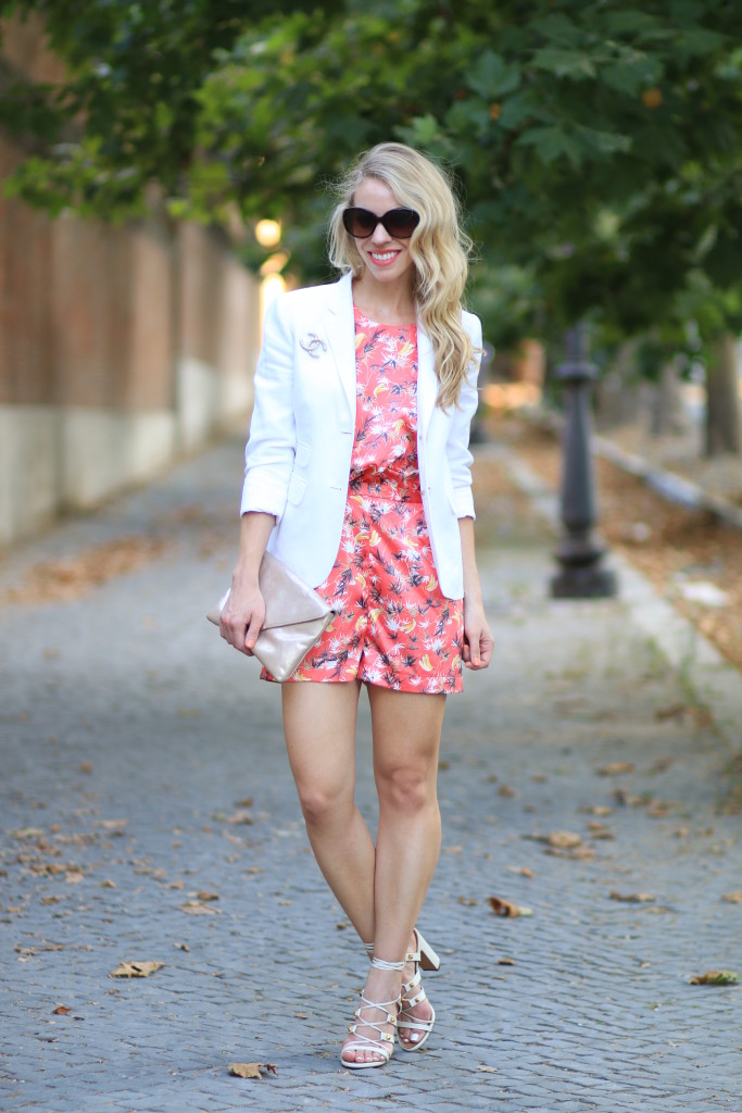 palm print silk romper, J Crew white blazer with Chanel brooch pin, how to dress up a romper for night, Valentino ivory white rockstud gladiator heel sandals