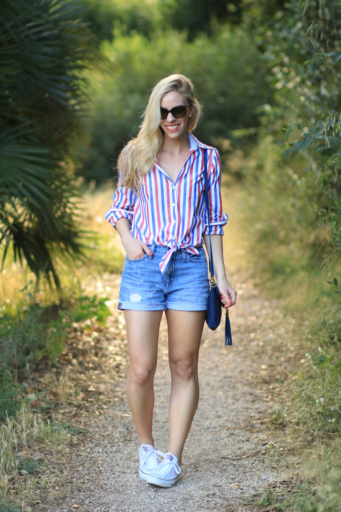 Red, White & Blue: Striped shirt, High waist shorts & Converse ...
