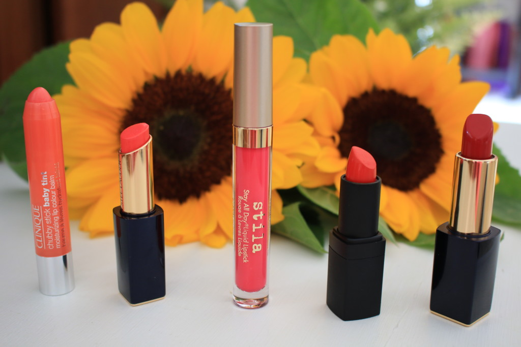 summer lipcolor reviews, Stila stay all day Amalfi, Estee Lauder Surreal Sun, Estee Lauder Envious, NARS heat wave, best red and coral lipsticks for summer
