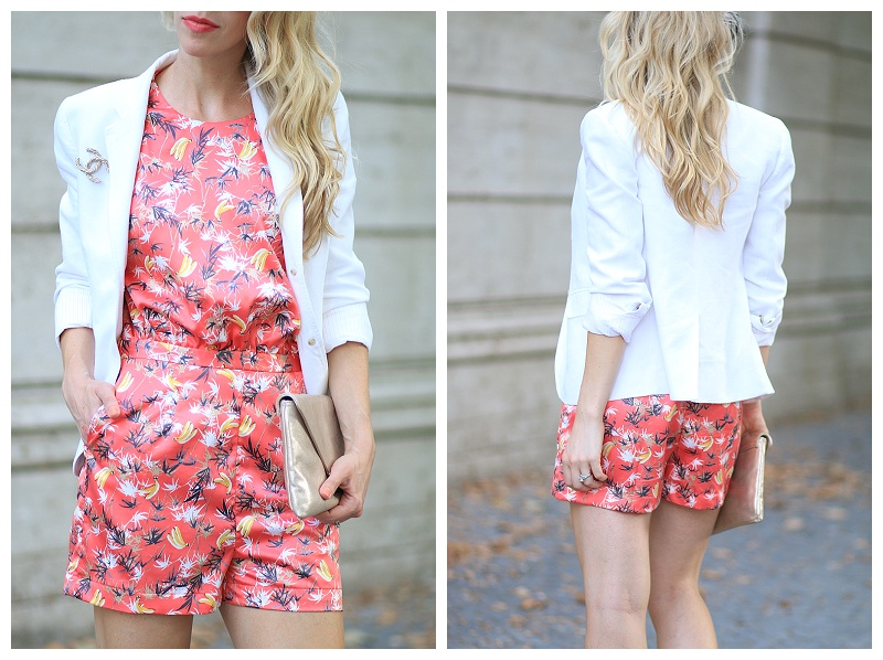 tropical palm print satin silk romper, J Crew white blazer, Chanel gold brooch, how to take a romper from day to night