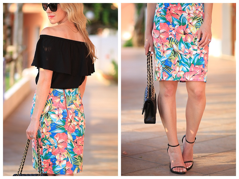 tropical print pencil skirt, Express black off the shoulder blouse, off the shoulder top with pencil skirt outfit, what to wear to Capri Italy