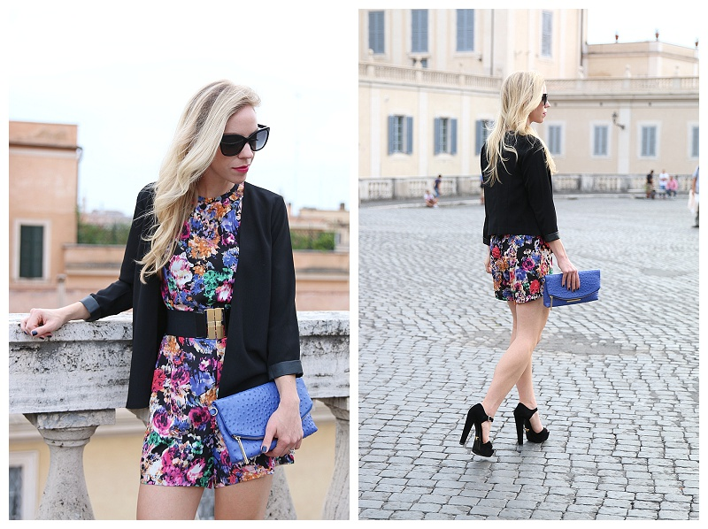 Brahmin Duxbury clutch cobalt blue, romper with black jacket, how to wear romper for fall, Prada black suede platform sandals, fashion blog Italy
