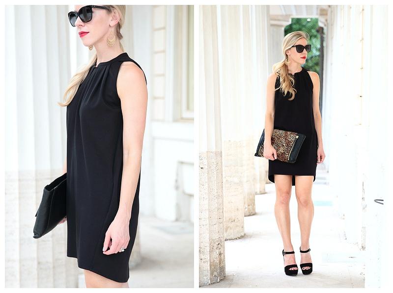 Estee Lauder Envious red lipstick, black mini dress with leopard clutch and platform sandals, Prada black suede platform heels