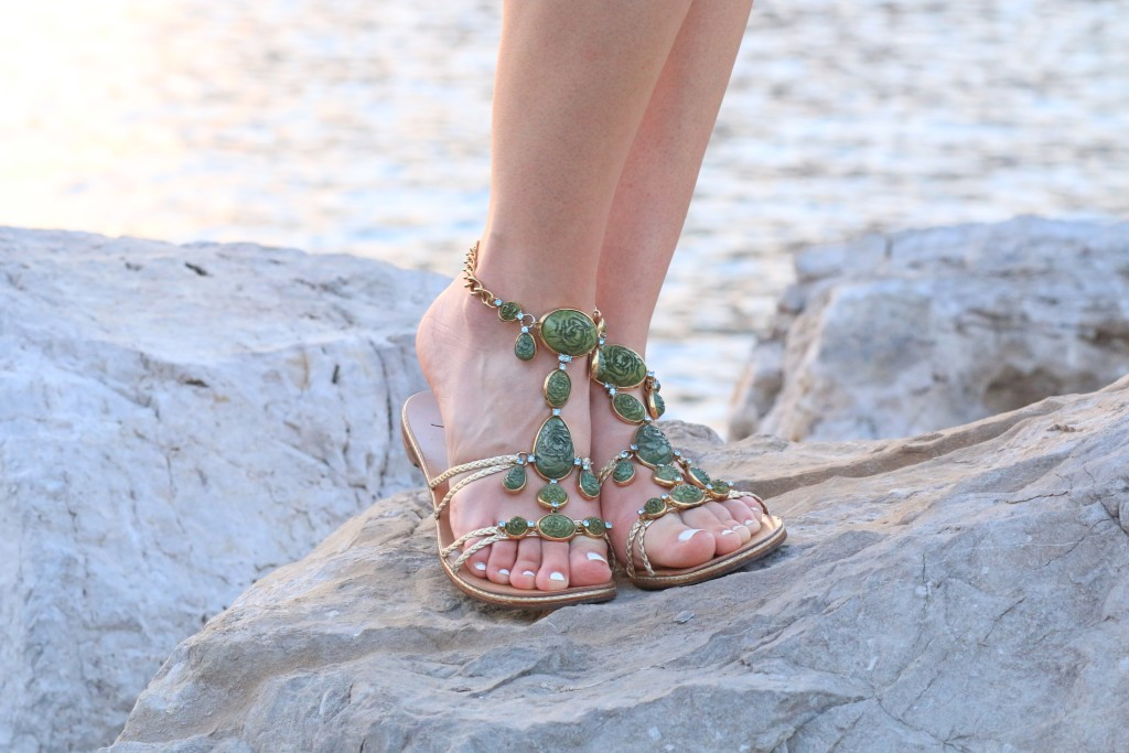 Giuseppe Zanotti green jeweled sandals, Napoli Italy, fashion blog