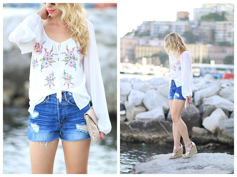 H&M distressed denim high waist shorts, Single Dress peasant blouse, how to wear boho look for summer, cutoff shorts with wedges
