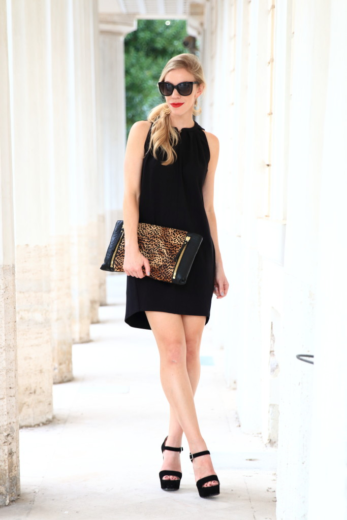 HOSS black trapeze dress, high low hem dress, Vince Camuto oversized leopard clutch, Prada black suede platform sandals