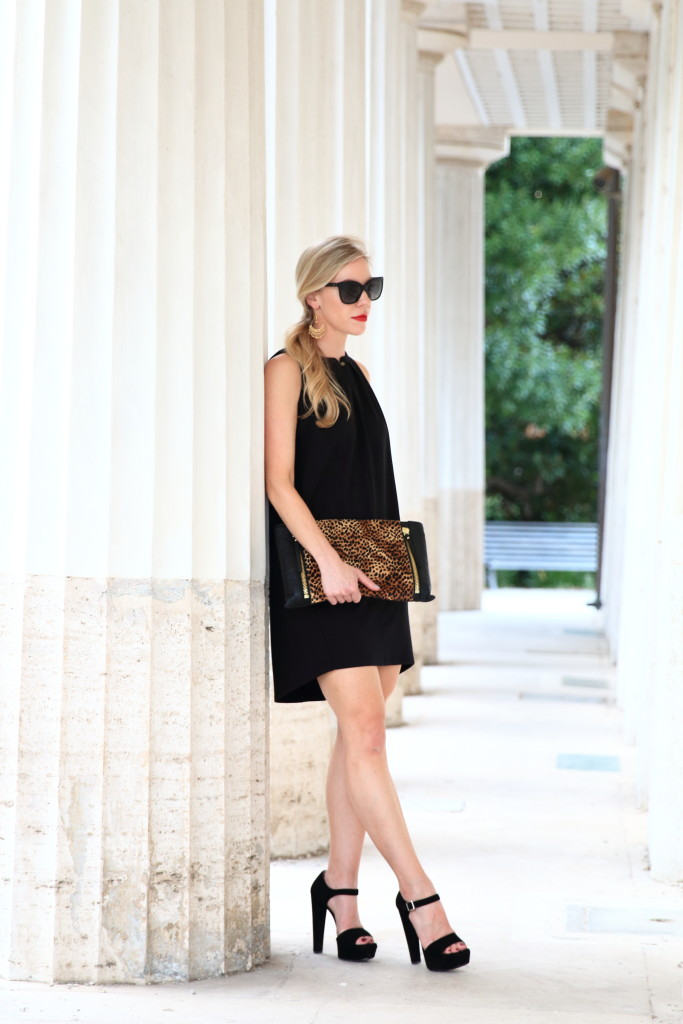 HOSS intropia black sleeveless trapeze dress with platform sandals and leopard clutch