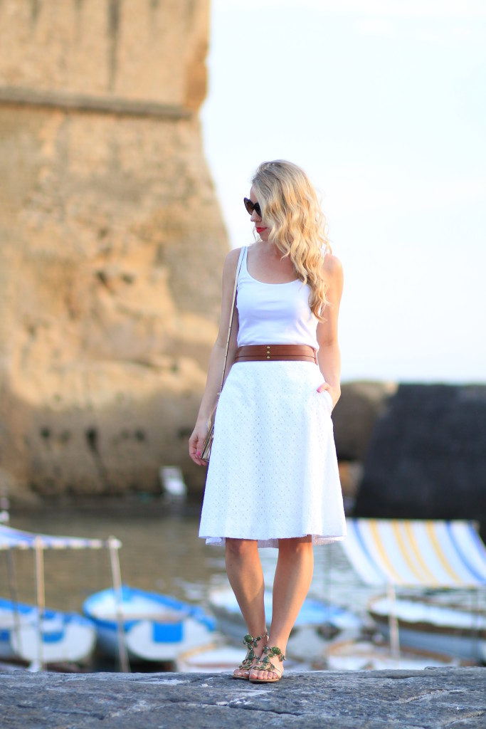 J Crew white eyelet midi skirt, all white outfit, how to wear all white for summer, Giuseppe Zanotti jeweled sandals, white midi skirt with cognac tan belt