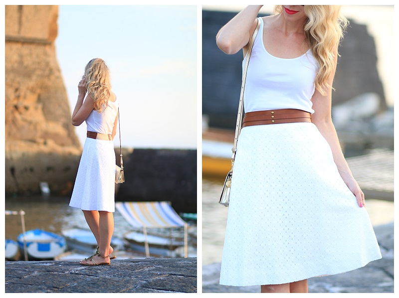 J Crew white eyelet midi skirt with belt, Giuseppe Zanotti jeweled sandals, Stila stay all day liquid lipstick 'Amalfi', how to wear all white outfit