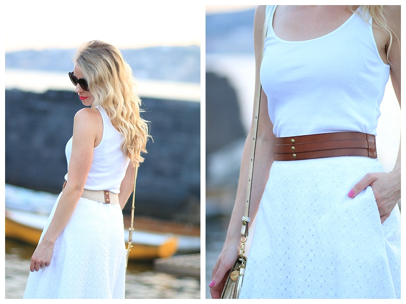 J Crew white eyelet midi skirt with cognac tan waist belt, how to wear all white for summer, white skirt with white top