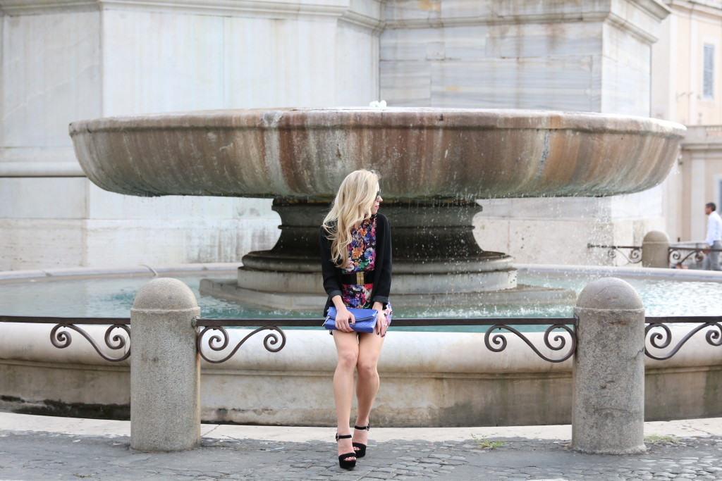 Piazza  Quirinale Rome Italy, black floral romper with blazer, Prada platform sandals