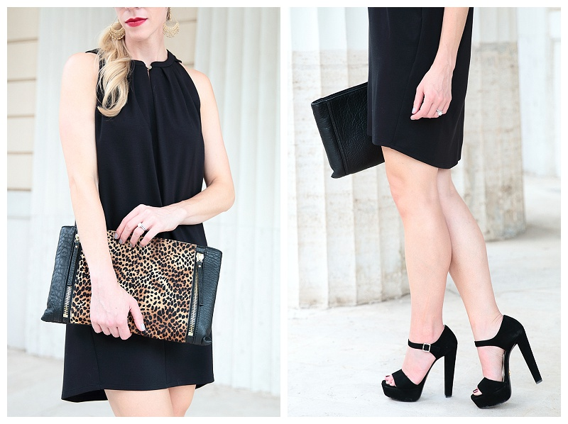 Prada black suede platform sandals, HOSS Intropia black high low hem dress, Vince Camuto leopard clutch, trapeze dress with platform heels