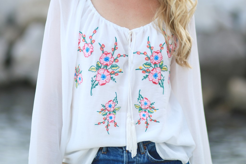Single Dress embroidered tassel blouse, embroidered peasant blouse with tassel ties