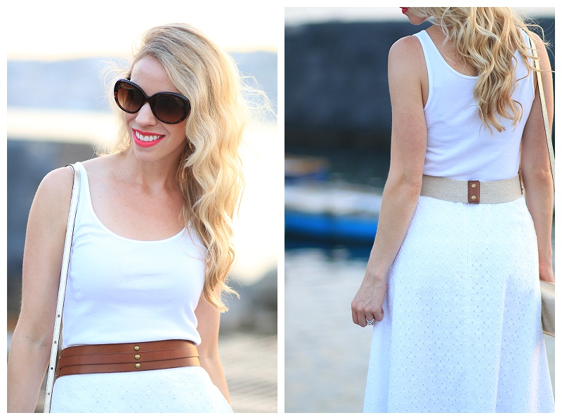 Stila stay all day lipstick 'Amalfi', white eyelet midi skirt with tan leather belt at waist, how to wear all white
