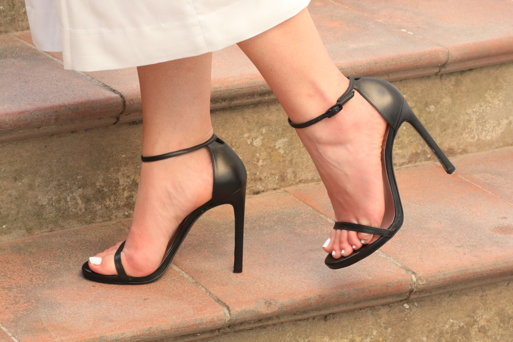 Stuart Weitzman Nudist black leather stiletto sandals with culottes