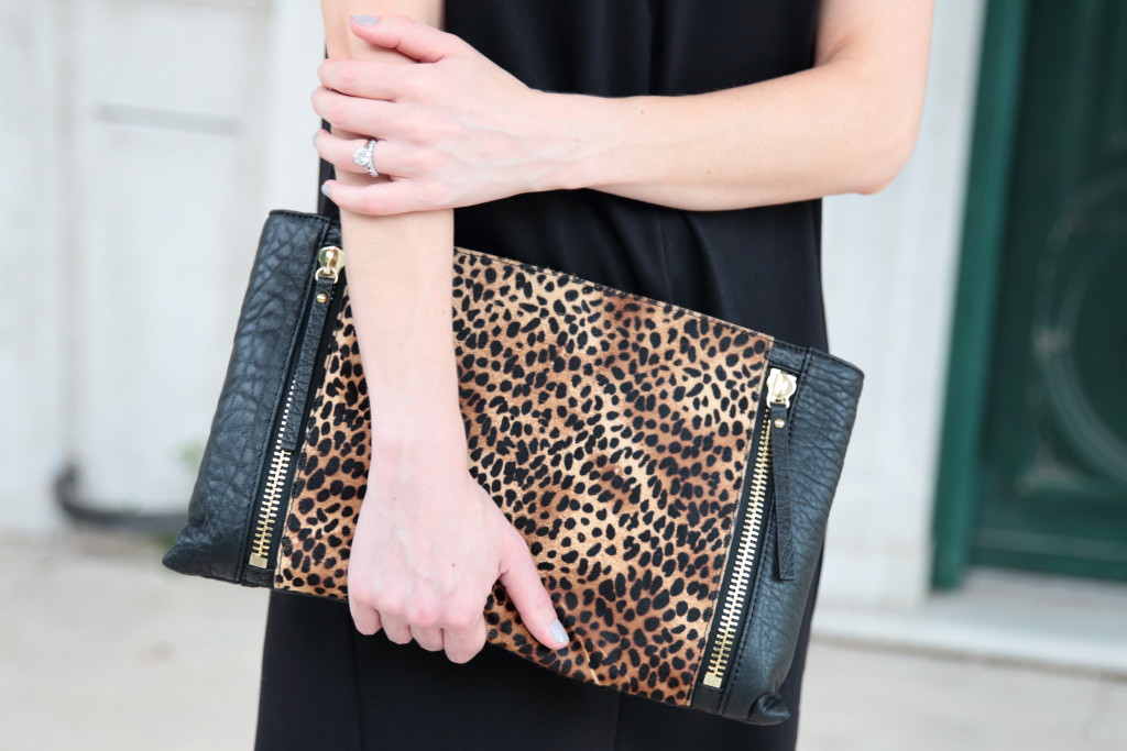 Vince Camuto oversized leopard clutch