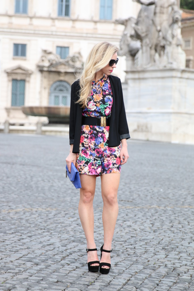 black floral romper, Prada suede platform sandals, Italy fashion blogger, how to wear a romper with a blazer for fall
