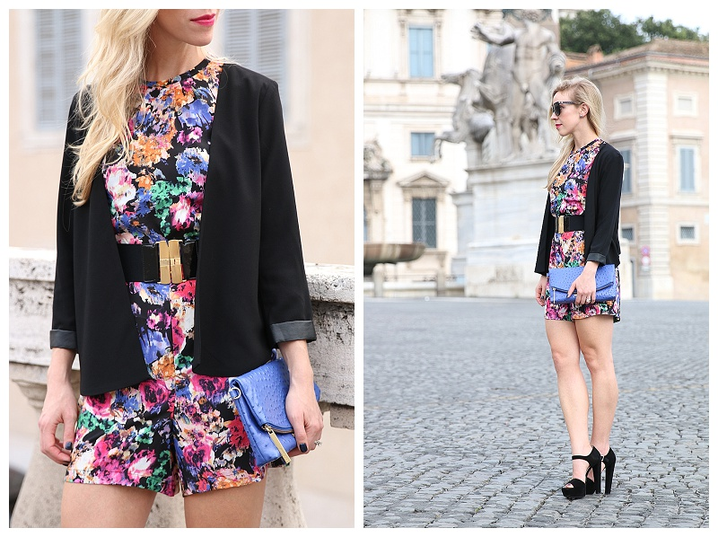 black floral romper with blazer, cobalt blue clutch, Prada suede platform sandals, how to wear romper for fall