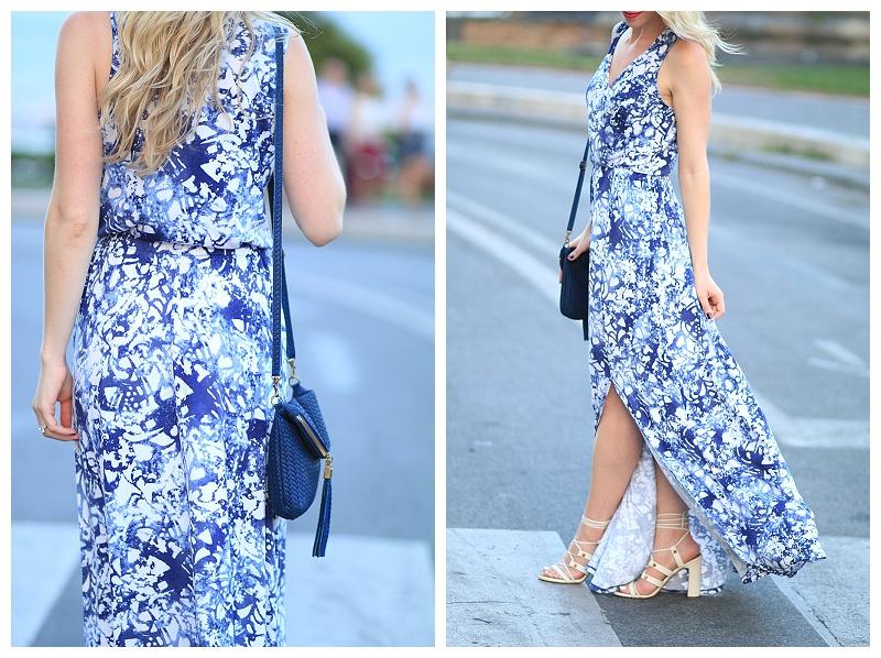 0e3c9501a2d blue floral print maxi dress with side slit