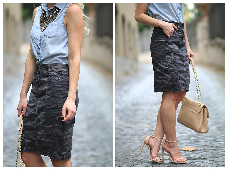 camo pencil skirt, J Crew chambray sleeveless shirt, statement necklace, Stuart Weitzman Nudist stilettos adobe leather, Louis Vuitton beige monogram bag