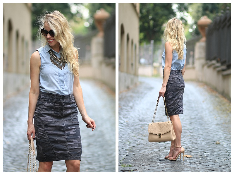 chambray top with camo skirt, LOFT camo pencil skirt, Louis Vuitton st. germain bag dune leather, best nude stilettos, Stuart Weitzman