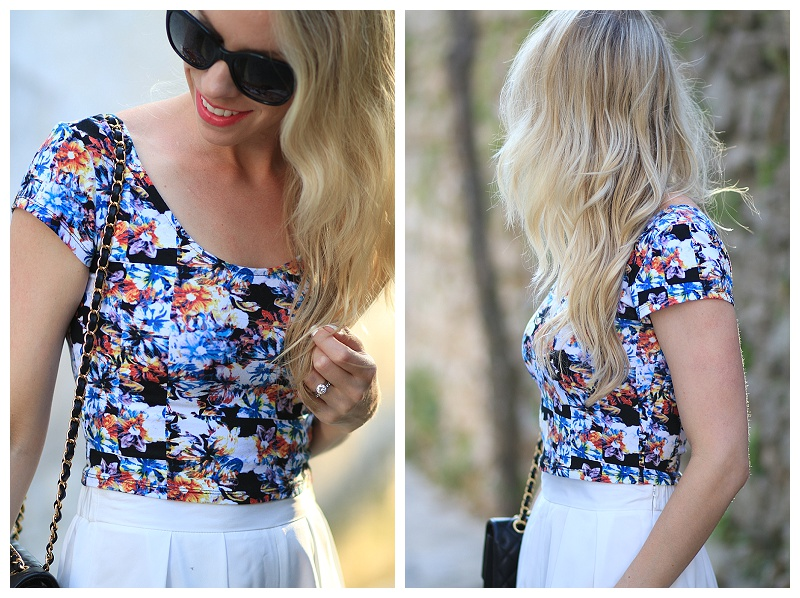 crop top with culottes outfit, Chanel quilted leather trim sunglasses