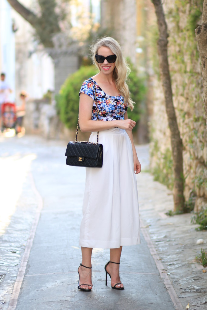 crop top with high waist culottes, off white cream culottes outfit, Chanel classic flap bag black lambskin with gold hardware, Stuart Weitzman Nudist sandals with cropped pants