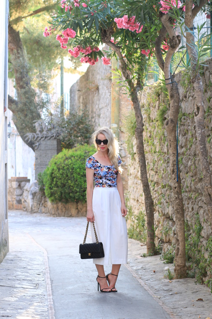 cropped culottes outfit, crop top with white culottes, Chanel medium classic bag, how to wear culottes for summer