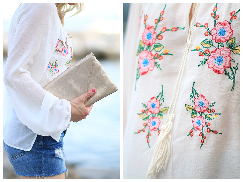 embroidered floral peasant blouse, tassel blouse, Elaine Turner gold Bella clutch