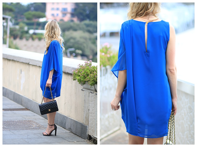 flowy one shoulder dress, how to wear cobalt blue, Chanel medium classic flap bag black lambskin with gold hardware, Stuart Weitzman black Nudist stilettos
