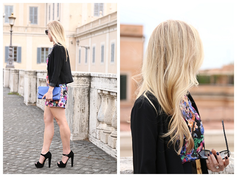 how to wear a romper with a blazer and heels, Prada black suede platform sandals, cobalt blue clutch, Italy fashion blogger Rome