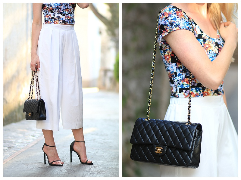 white culotte cropped pants with stiletto sandals, Chanel classic quilted flap bag black lambskin with gold hardware
