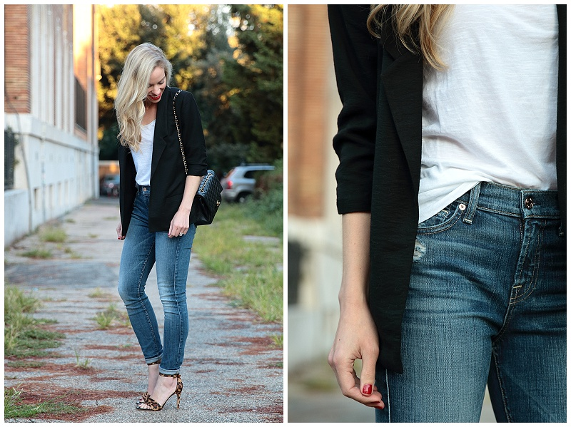 7 for all mankind high waist ankle jeans, boyfriend blazer with white tee outfit, how to wear boyfriend blazer, leopard print sandals