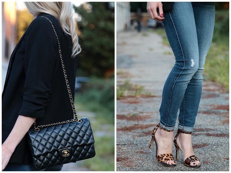 Chanel medium classic flap bag black lambskin with gold hardware, boyfriend blazer, 7 for all mankind high waist ankle jeans, Joie leopard sandals