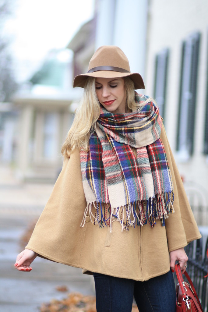 H&M camel wool panama hat, oversized plaid blanket scarf, red green and blue plaid scarf, camel sweater cape