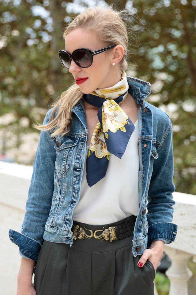 { Welcome to the Jungle: Denim jacket, Silk scarf ...